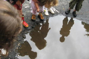 Looking in a rain puddle